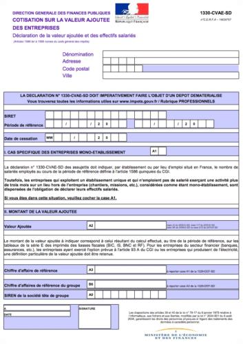 formulaire 1330 cvae